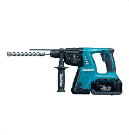Makita BHR261RDE Cordless Hammer Drill     Outstanding performance with 36V Lithium-ion battery.     Vibration absorbing Handle and Good tool-balance provide more control and comfort while minimizing hand fatigue.     Elastomer to protect from external shock.     Versatile 3 Mode Operation - hammering, hammering with rotation, rotation.     LED job light with after glow function. For More Details: http://www.mrthomas.in/makita-bhr261rde-cordless-hammer-drill_9