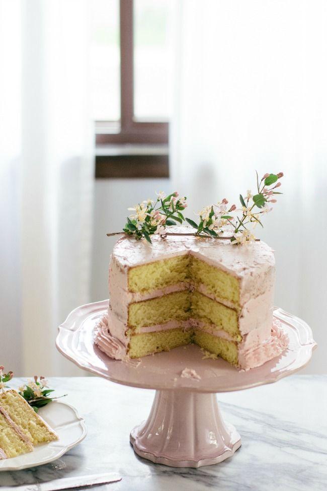 Buttermilk cake with strawberry buttercream. Such a beautiful cake! #cake #strawberry #recipe