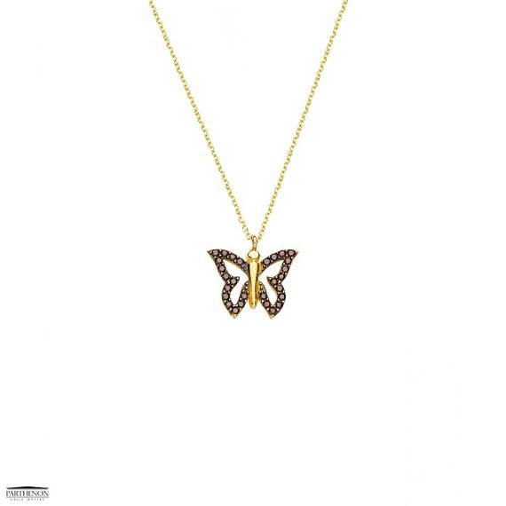 Butterfly Pendant Necklace, Parthenon Greek Jewelry Greek handmade, This pretty necklace features a beautiful butterfly pendant crafted from 14ct Gold, and white zircon are the perfect fashion accessory for everyday wear,