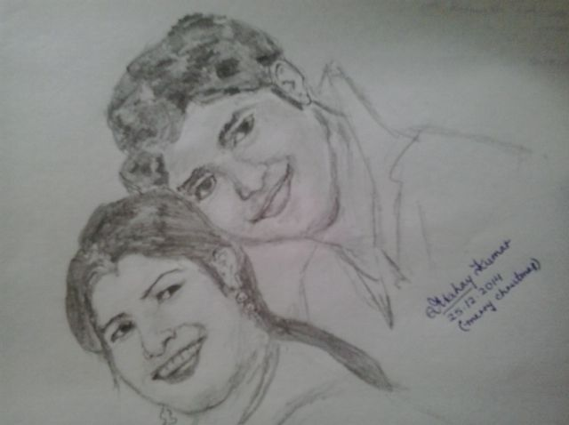 Indian love couple drawing by artist akshay kumar