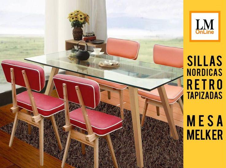 Juego de comedor mesa Melker 140 con 4 sillas Retro tapizadas en La Muebleria OnLine