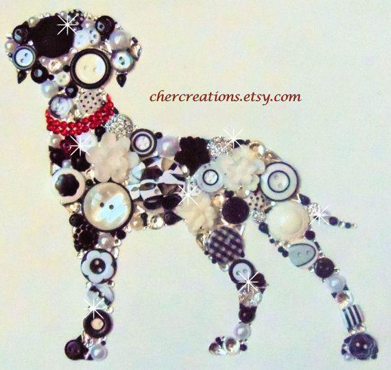 DALMATIAN #30, 8x10 Button Art, Button Artwork OOAK, dog, fireman, firehouse…