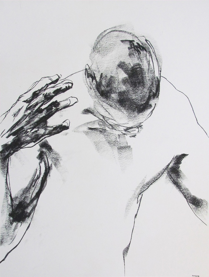 """Expressive Male Figure Drawing - 18 x24"""", fine art - Drawing 122 - charcoal on paper - original drawing by Derek Overfield Art"""