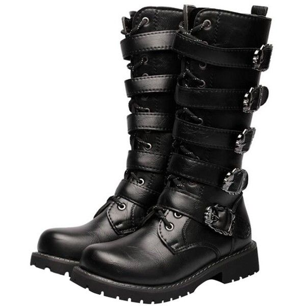 Men'Retro Buckle Combat Jungle Desert Hiking Boots Mid-calf Sneaker... ($39) ❤ liked on Polyvore featuring men's fashion, men's shoes, men's boots, men's work boots, mens combat style boots, mens retro combat boots, mens hiking boots, mens work boots and mens wide fit boots