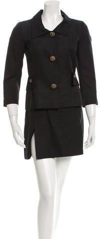 Dolce & Gabbana Embellished Button Skirt Suit