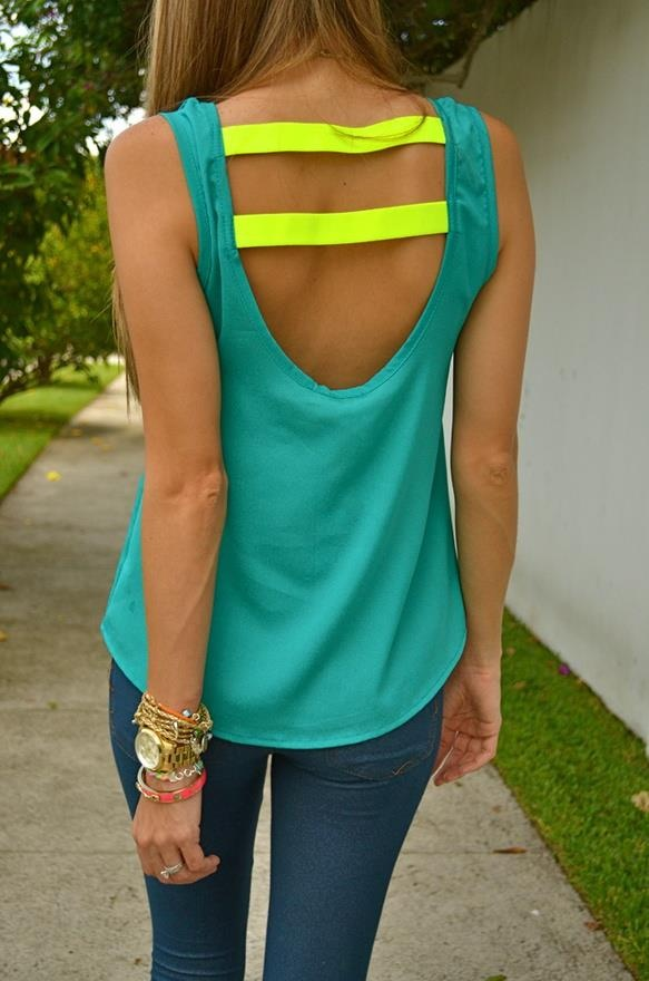 cut the back of a tank. sew neon strips of fabric onto back.