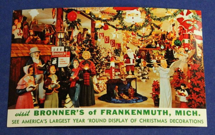 Bronner's Christmas Store Advertisement - Frankenmuth - Vintage Postcard - 1950s