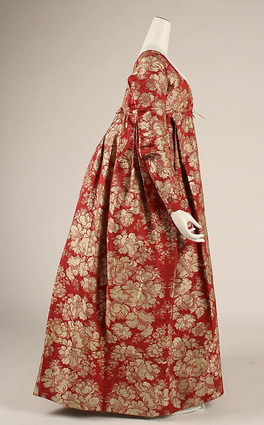 1790s red silk brocade dress. French  Accession Number: C.I.64.32.2  Metropolitan Museum of Art