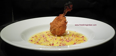Tandoori spiced chicken with saffron & red onion broth from fine dining Indian