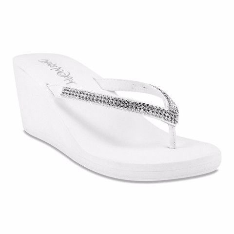Crystal Wedge Flip Flops - #White