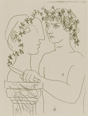 The Vollard Suite comprises 100 etchings produced by Picasso between 1930 and 1937.  The prints were made when Picasso was involved in a passionate affair with his muse and model, Marie-Thérèse Walter, whose classical features are a recurrent presence in the series. They offer an ongoing process of change and metamorphosis that eludes any final resolution.