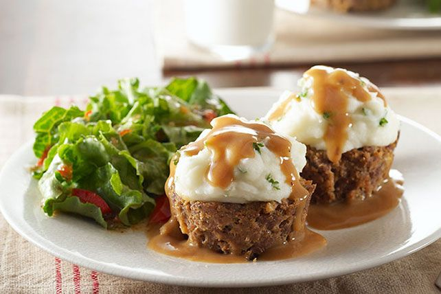 Meatloaf, mashed potatoes and gravy in a savory dish that looks like a cupcake?  We make these all the time. Your cupcake pan makes a perfect portion.