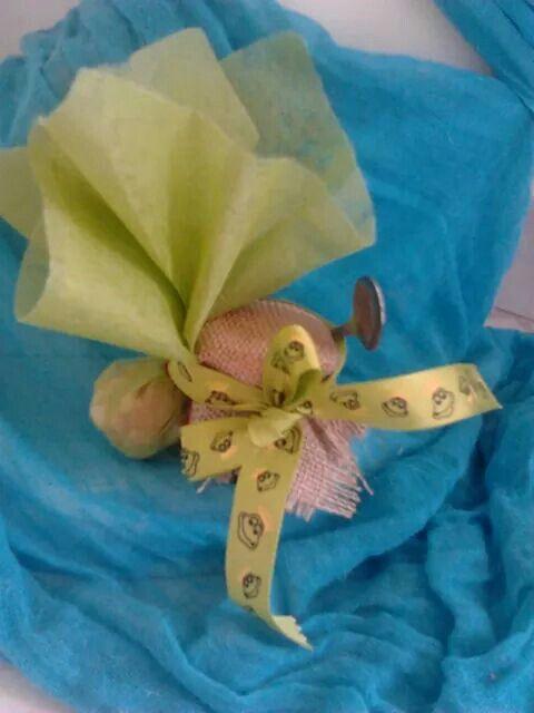 Μπομπονιερα βαπτισης βαζακι με γλυκο κουταλιου