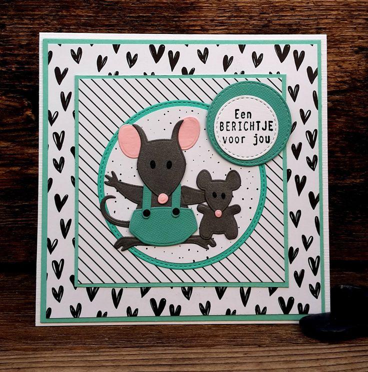Nog een kaartje gemaakt met de Eline's muisjes, ze zijn zo leuk. Zeker dat kleintje, wat een cutie! Behalve de muisjes (COL1437) heb ik oo...