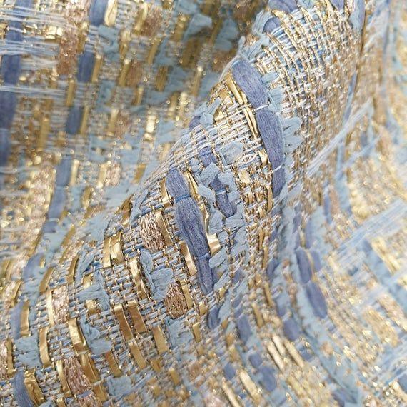 Coat Fabric Blue Textured Heavyweight Woven Dress Per Metre