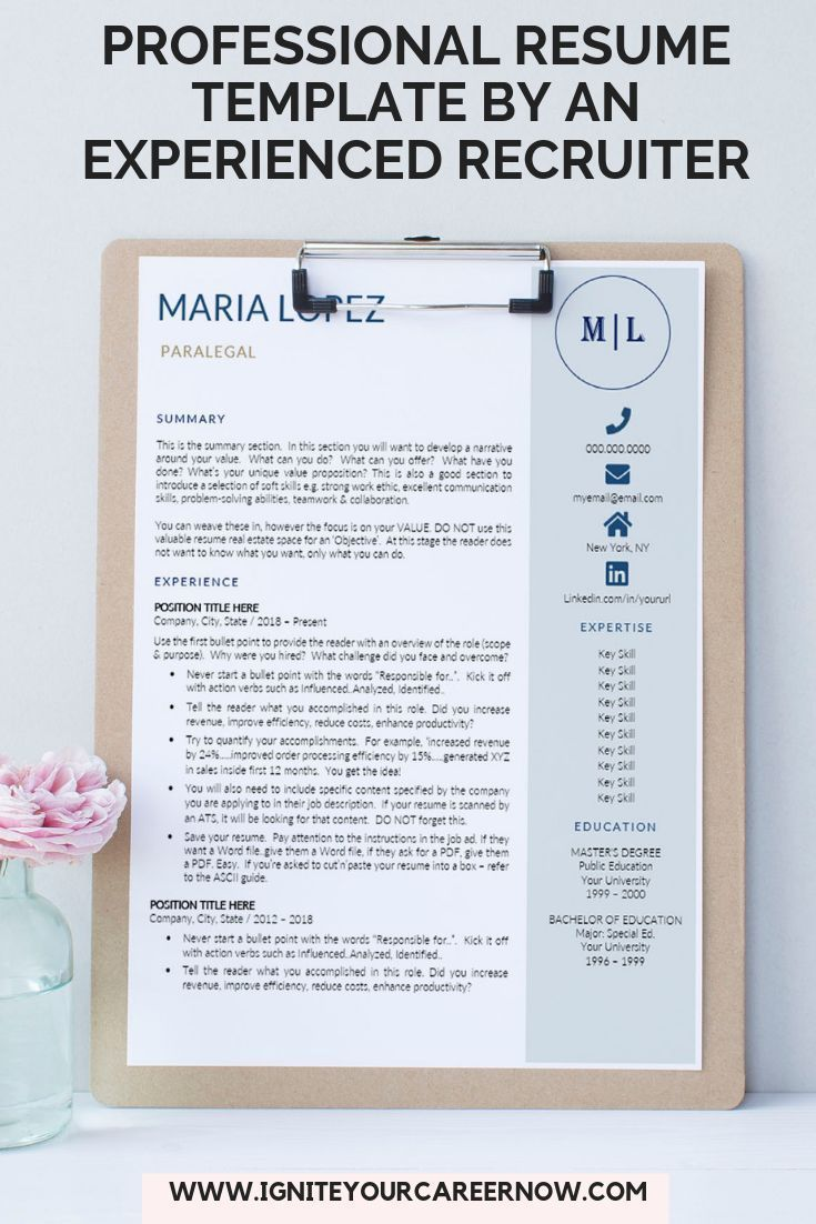 Get Noticed Get Hired With This Easy To Use Resume Template For