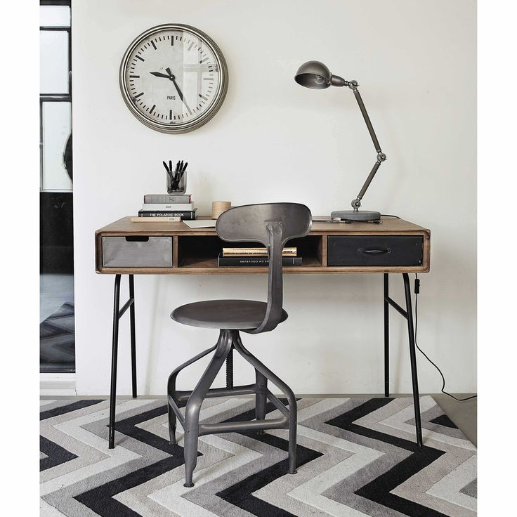 excellent industrial work space solid mango wood vintage desk maisons du monde with chaise. Black Bedroom Furniture Sets. Home Design Ideas
