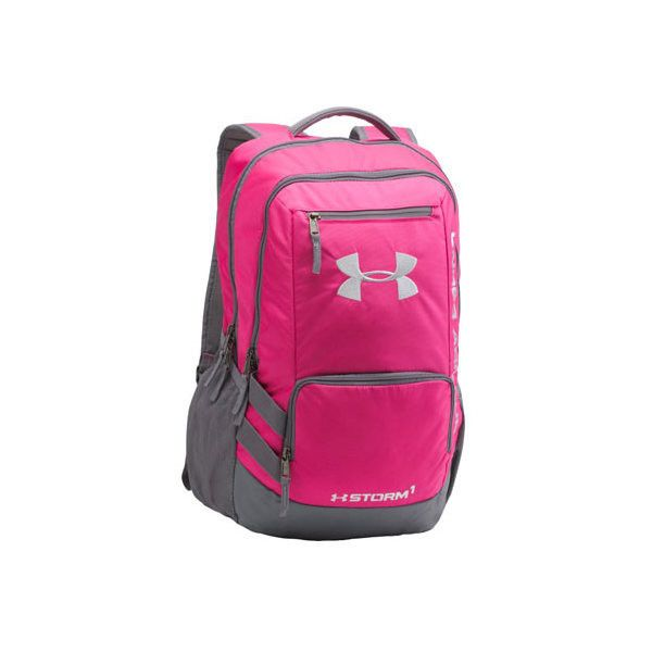 Under Armour Storm Hustle Backpack II ($47) ❤ liked on Polyvore featuring bags, backpacks, padded laptop backpack, pink laptop backpack, under armour backpacks, laptop bags and under armour