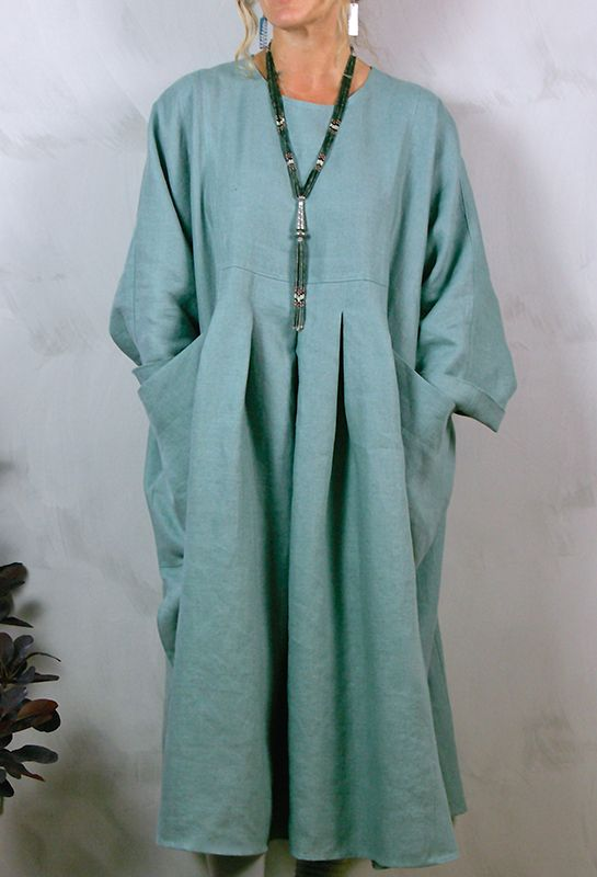 New Baggy Dress (front) in heavy linens, many colours available, £280.