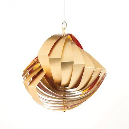 CREATOR:Louis Weisdorf (Designer), Lyfa (Designer) COUNTRY:Denmark DATE OF MANUFACTURE:1965 MATERIALS:vertical suspension with uniform slats of brass CONDITION:Good WEAR:        Wear consistent with age and use