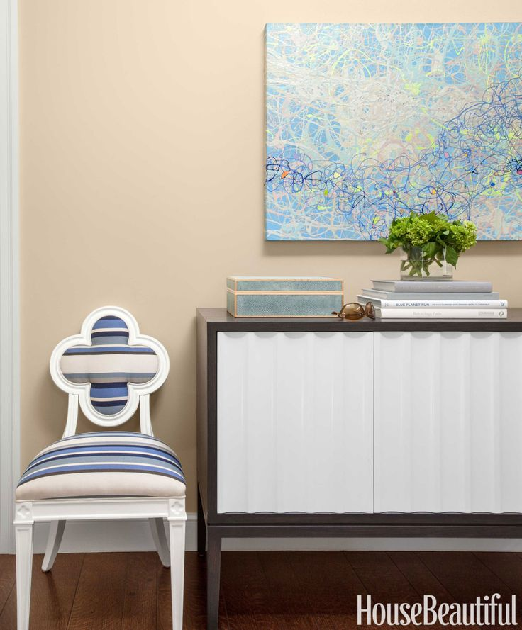 Add some stripes to your chairs or sofa. In the entry of a colorful Menlo Park, California, house designed by Matthew Leverone, Hickory Chair's Alexandra chair is energized with Duralee's Huntington Stripe.   - HouseBeautiful.com