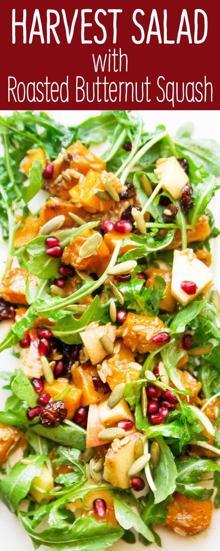 Harvest Salad with Miso-Maple Roasted Butternut Squash #vegetarian #vegan