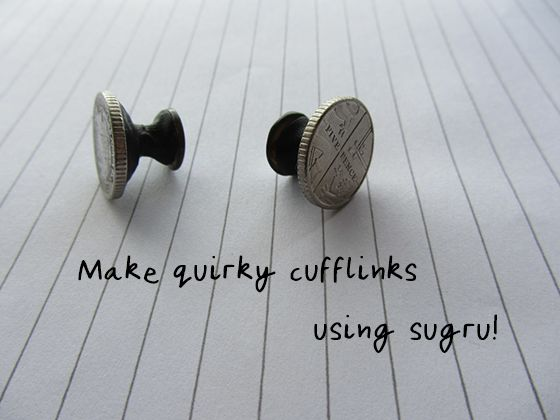 Make unique cufflinks out of anything! Like these coin cuffs