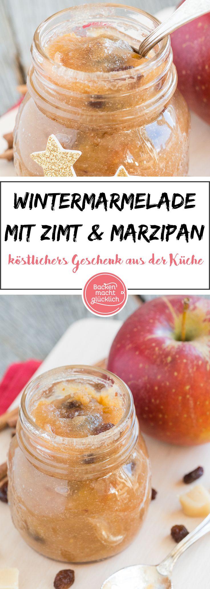 Bratapfelmarmelade ist ein köstliches Geschenk aus der Küche. Gebackene Äpfel, Zimt, Rosinen und Marzipan – für mich die perfekte Kombination aus Zutaten. Deswegen stecken sie auch alle in meinerwinterlichen Marmelade.