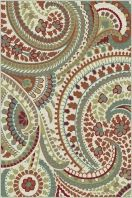 "Stylish paisley pattern with a lively appeal. This transitional area rug is versatile enough to span a variety of decors. Options include rounds and a three piece set for a coordinated look throughout the home. Snowy ivory background with teal blue, pear green, cranberry red, russet, ecru gold, mushroom taupe, and espresso brown. Machine made of soft polypropylene that is naturally stain-resistant and easy to maintain. The three piece set includes a 5' x 7', 1'8"" x 5' and a 1'8"" x 2'8""."