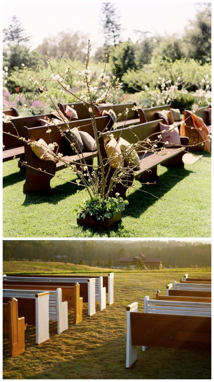 148 best outside wedding ideas images on pinterest glamping outdoor wedding seating love the idea of church pews or wooden benches with pillows junglespirit Image collections