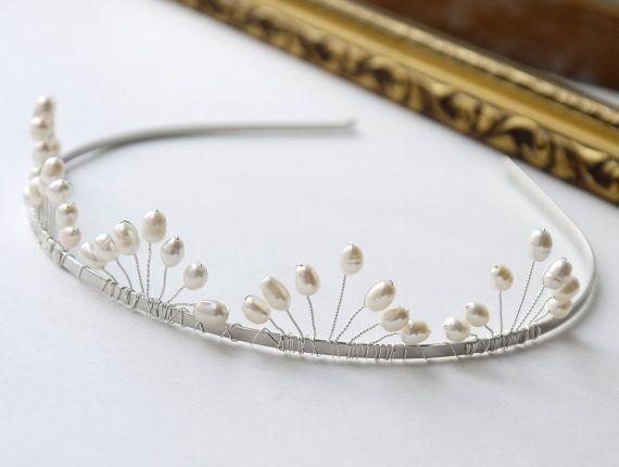 pearl wedding tiara freshwater ivory rice pearl by PearlsByTabs