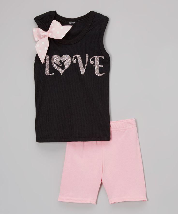 Black 'Love' Tank & Light Pink Shorts - Infant Toddler & Girls
