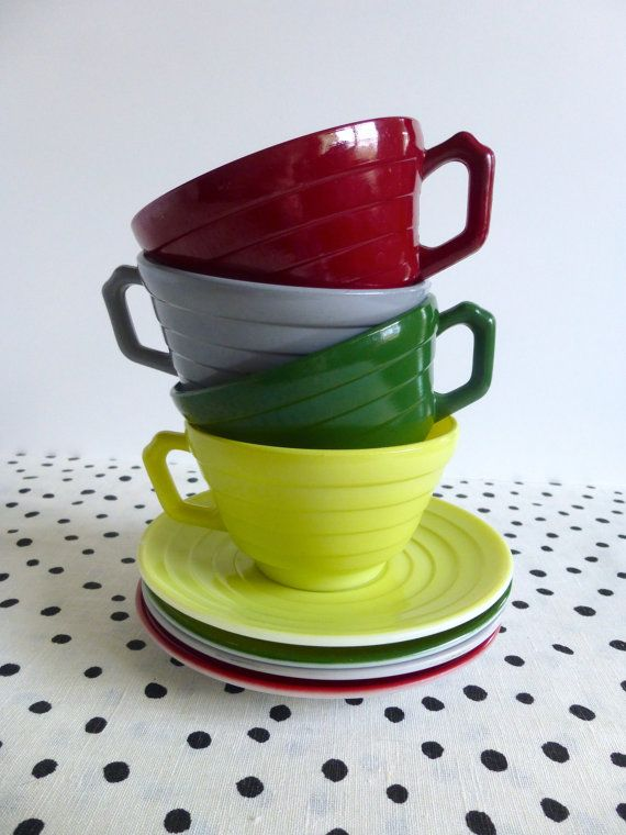 Vintage Hazel Atlas Moderntone Teacups and by ForestHillsVintage