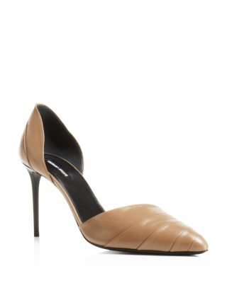 """Luxurious folds of Italian leather make Giorgio Armani's pointed d'Orsay pumps particularly stunning. 