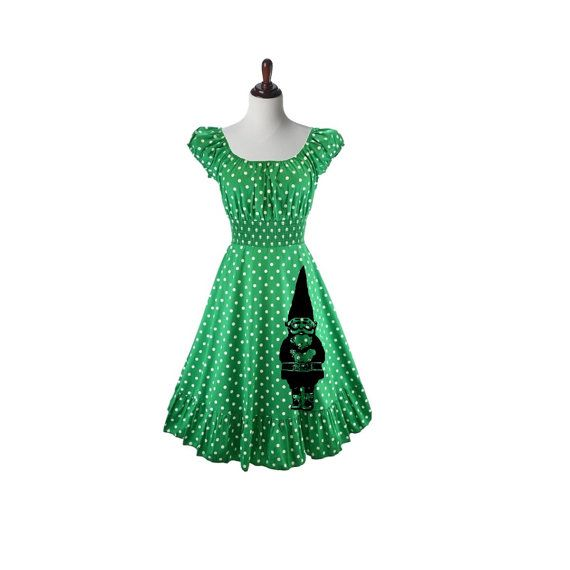 Womens gnome Dress Polka Dot Retro Pin Up Gypsy Off Shoulder Womens plus size Christmas dresses clothing 2XL 3XL A-line Fit and Flare  Womens polka dot retro style A-line dress hand screen printed with a large gnome along the hem. Available in sizes Small - 3XL.  This darling dress is constructed of a super comfy poly/cotton blend and features a ruffled hem with a neckline that can also be worn on or off shoulder and a flared skirt for tons of retro flair. The waistline is smocked for a very…