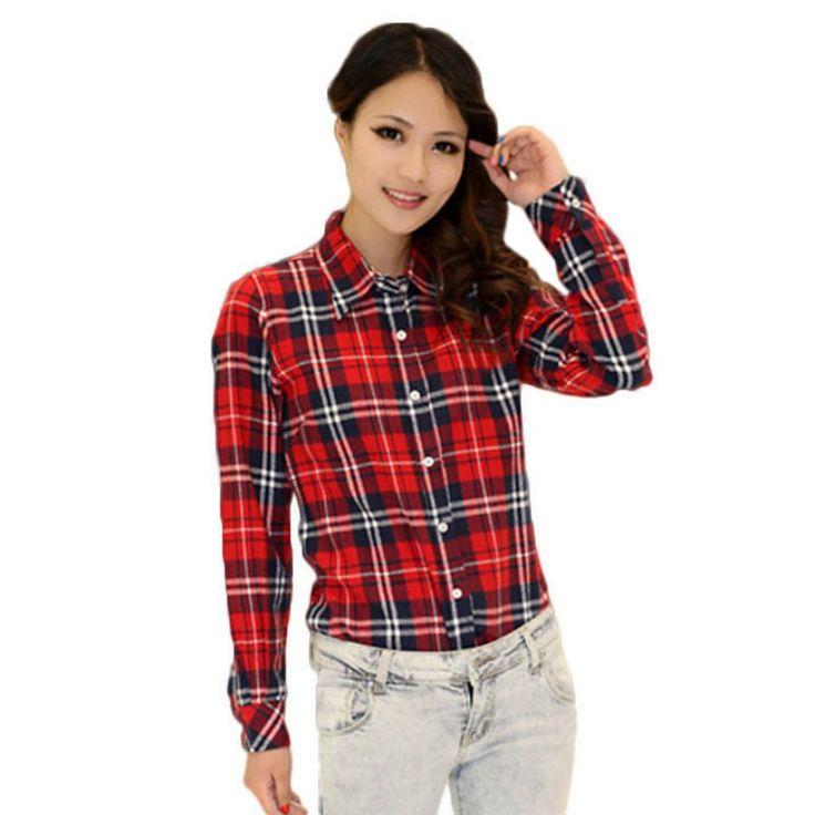 Autumn Winter Ladies Women Female Casual Cotton Lapel Long-Sleeve Plaid Shirt Women Slim Outerwear Blouse Tops Clothing