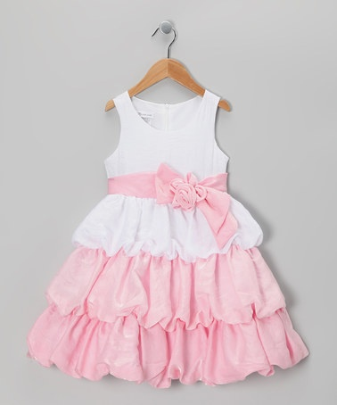{Pink & White Color Block Bubble Dress - Girls by Gerson & Gerson}