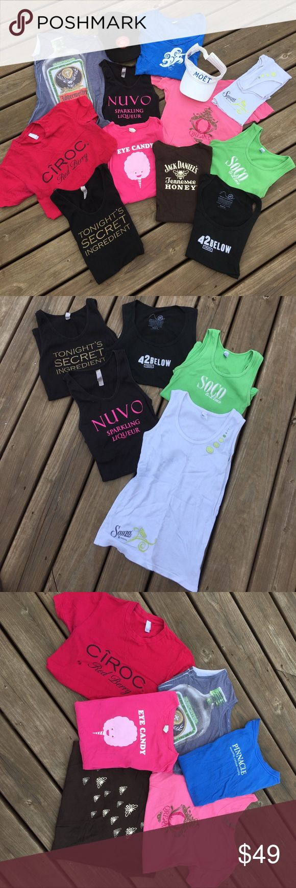 Liquor bundle size SML well worn liquor Apparel  💕jeremiah weed hat, 💕moët visor (stains discolor from wear) 💕sm Nuvo tank, 💕med Sauza  tank logo on bottom limes on left shoulder( light stain in front-barely noticeable) 💕med 42below tank💕med soco&lime tank💕 jägermeister tee (no tag looks like a med)💕med Qream tee💕med pinnacle tee💕med brown jack daniels honey tee( bees on front logo on back)💕med ciroc tee (stain will prob wash out)💕lg eye candy pinnacle tee(logo in back) 💕lg 43…