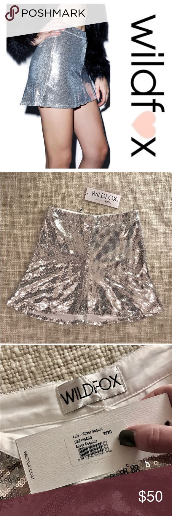 Wildfox Silver Sequin Lula Skirt Wildfox Couture Lula Sequin Skirt - skip the lines in this sparkly skirt! It's high waisted and stretchy with a slight A-line and positively covered in super shimmery sequins. The inner lining is super soft so you can party all night! It feels incredibly well made and has four vertical seams and a hidden zipper in one of them. Brand new with tags!  Materials: 97% Polyester, 3% Spandex Dry Clean Only Model wears 0 and is 5'9 Wildfox Skirts Mini