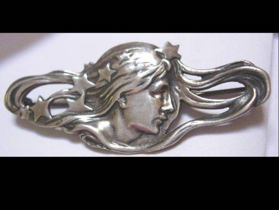 Vintage sterling brooch art Nouveau signed Bohemian Maiden nouveau goddess
