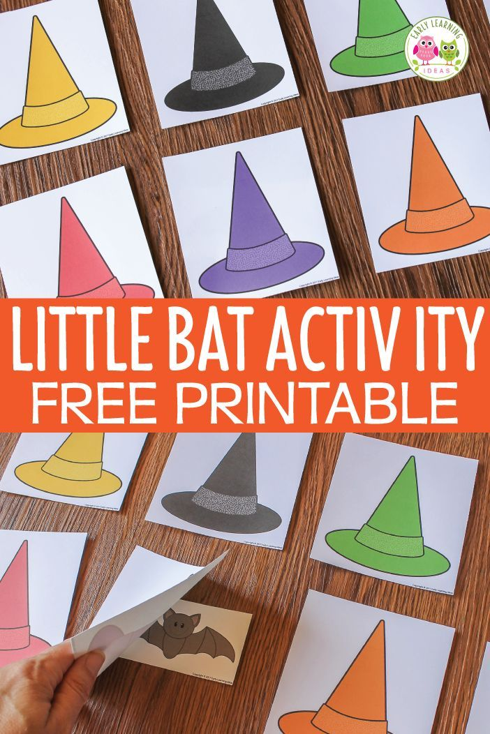 Kids will learn while they search for the little bat. Use this preschool Halloween game printable to help kids learn colors, alphabet, numbers, shapes, sight words, etc. A perfect Halloween or October themed game for preschool, pre-k, and kindergarten. Play with individual child, small group, or large group. Free Halloween bat activity, printable, game.
