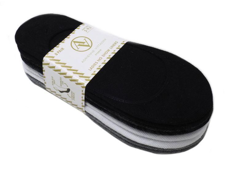 Adrienne Vittadini Ladies' Shoe Size 5-9.5 No Show Liners 8 Pair, Multi