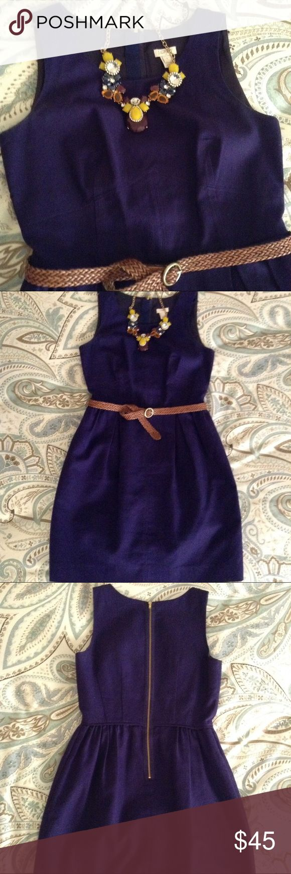 Purple Imperial Dress A beautifully shaped cotton dress from J.Crew! Seams in the front give shape and definition while pleats in the skirt give fullness and texture. A deep purple textured cotton with pockets and exposed back zipper! Re-posh. J. Crew Dresses