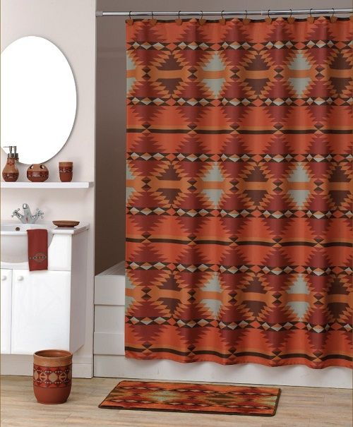 southwestern shower curtains and accessories | ... about SANTA fe SOUTHWESTERN fabric SHOWER curtain BATH DECOR NEW - perfect for the main bath