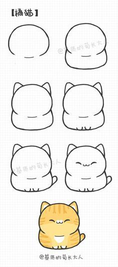 Como desenhar um gatinho fofo kawaii; 3   – Bullet Journal