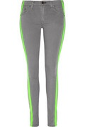 Color blocked neon jeans