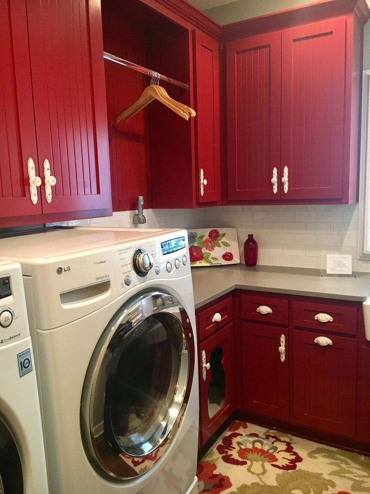 Best 25 Red laundry rooms ideas on Pinterest  Basement laundry area Rustic folding tables and