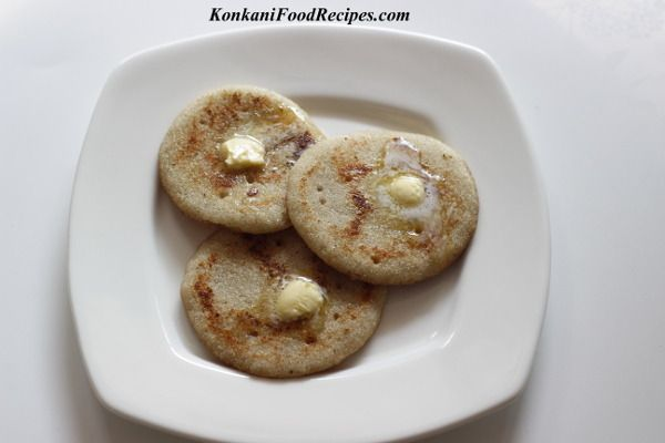 Sweet Semolina Pancakes With Bananas.  Called as kelle rulava dodaka in Konkani. These tiny dosas make a great breakfast. They are sweet & spicy at the same time. They are delish & can be had as-is. They also taste great with loads of butter. I'm sure kids will love these dosas for breakfast or for tea time snack.