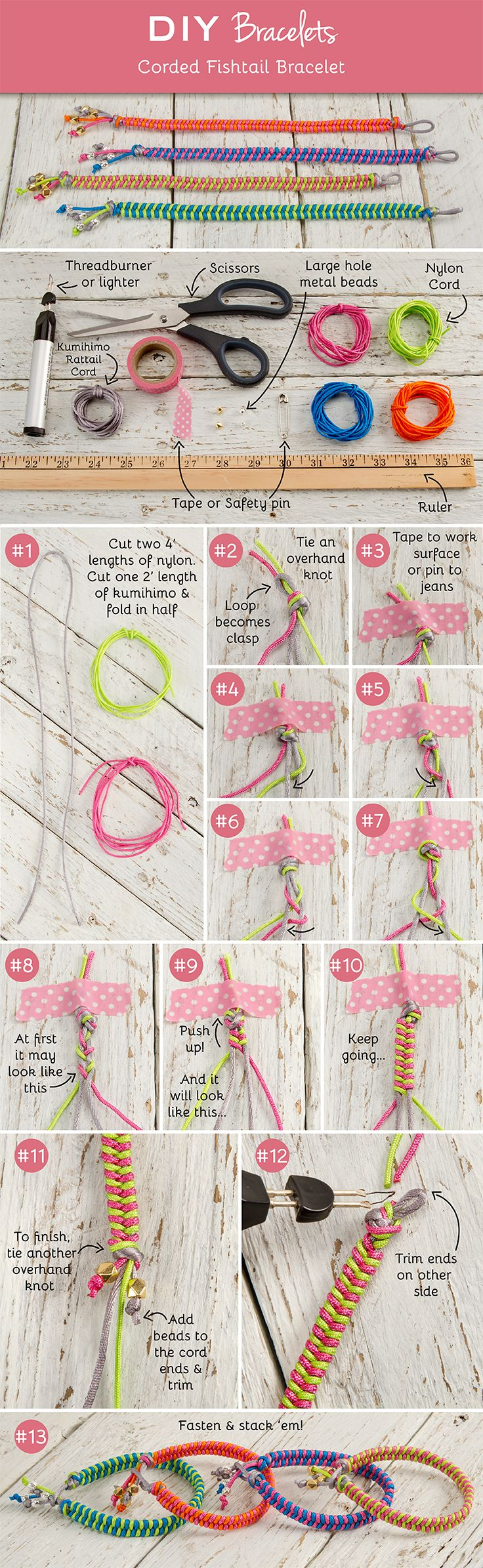 DIY Corded Fishtail Bracelets More