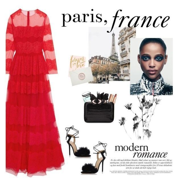 """""""How to Style a Red Lace Dress with Black Strappy Heels and a Nude Lip for a Winter Wedding in Paris, France"""" by outfitsfortravel ❤ liked on Polyvore featuring Valentino, Charlotte Tilbury, By Terry, Nancy Gonzalez and Charlotte Olympia #charlotteolympiaheelsdresses"""